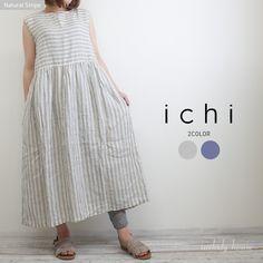 ICHI リネン 切替ストライプ*ノースリーブワンピース(全2色)