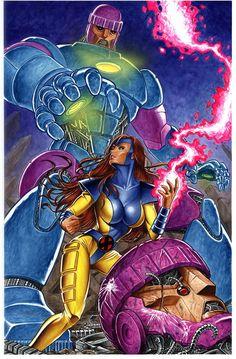 Jean Grey vs. Sentinels by Mark Sparacio *
