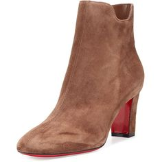 Christian Louboutin Tiagadaboot Suede 70mm Red Sole Bootie ($945) ❤ liked on Polyvore featuring shoes, boots, ankle booties, cognac, ankle boots, suede ankle booties, suede boots, cognac ankle boots and cognac boots