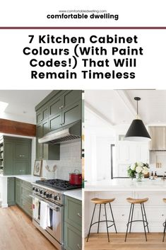 Here are 7 of the most popular painted kitchen cabinets colors that are timeless and help you with revamping kitchen cabinets on a DIY budget! Turn your outdated kitchen into a show-stopping stunner on a budget! Head to the blog post now.   kitchen ideas   painted cabinets   do it yourself kitchen   kitchen cupboards   painted kitchen cabinets   revamping kitchen cabinets   kitchen cabinet colors   #diykitchen #kitchenmakeover #paintcolors #benjaminmoore #sherwinwilliams #cabinets #timeless Kitchen Inspiration, Home Decor Inspiration, Kitchen Ideas, Kitchen Decor, Decor Ideas, Family Dining Rooms, Desk In Living Room, Oak Kitchen Cabinets, Kitchen Cabinet Colors