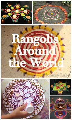 Artful Diwali With Kids From Around the World. Check Out These Lovely, Creative Rangolis, Indian art to welcome people to your home, including Leaves Rangoli, Coloued Sand Rangoli, Play Doh Rangoli and More - they'll brighten up the home, no matter what day or festival.