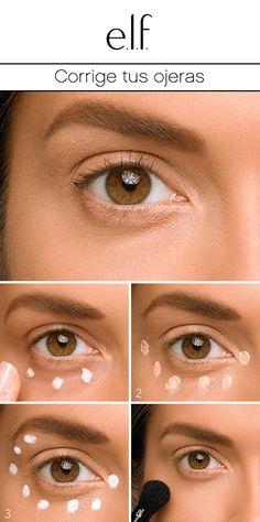 Para lucir despierta y con una mirada fresca ¡dale un vistazo a este sencillo tutorial de cómo corregir las ojeras! #elfosmeticos #tutorial 1. Comienza con el Primer Hidratante para Debajo del Ojo. 2. Usa el lado  Conceal del Corrector e Iluminador para Ojos y aplica un poco en la ojera. 3. Para iluminar, aplica unos puntitos del lado Highlight (de color blanco) del Corrector e Iluminador para Ojos. 4. Extiende y difumina suavemente con la Brocha Correctora Acabado Perfecto.