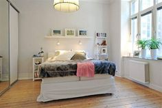 Minimalist Modern Scandinavian Bedroom Design - love the shelf and lights above bed Small Apartment Interior, Small Apartment Design, Home Interior, Scandinavian Apartment, Scandinavian Bedroom, Interior Modern, Small Apartments, Small Bedroom Designs, Modern Bedroom Design