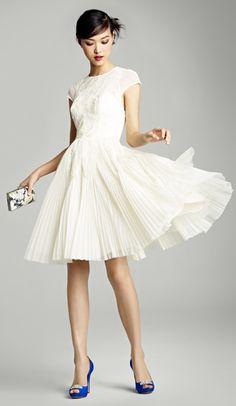 pleated short wedding dress. Visit www.rosetintmywedding.co.uk for bespoke wedding planning and design UK.