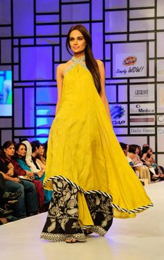 House of Umar Sayeed at Fashion Pakistan Week 2012 yellow and black dress