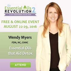 People all over the world are scrambling to find the answer to health problems like diabetes, pain, chronic fatigue, anxiety, estrogenic cancers and more.This year, join to hear me speak aboutEssential Oils that Aid Detox.Millions are turning to natural solutions and many have experienced great success with essential oils. Learn if oils could be themissing ingredient for you and your family!  Register here:http://bit.ly/_EOR2