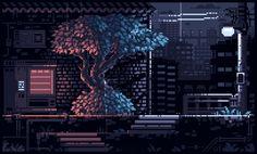 [Pixel Art] Midnight Rain in Japan