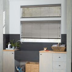 Add amazing performance where responsibly needed with Hunter Douglas EverWood® Alternative Wood Blinds. Guaranteed against fading, yellowing, warping, or bowing - making them perfect window treatments when humidity is a factor.  #mudroom #hunterdouglas