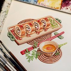 Food Art Painting, Food Doodles, Chibi Food, Food Template, Food Cartoon, Watercolor Food, Sushi Art, Master Chef, Fake Food