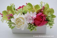 CLAYCRAFT by DECO Green Cymbidium Orchids by dkdesignshawaii