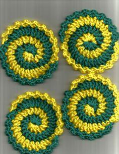 Fun Yellow and Aqua Pinwheel Coasters.