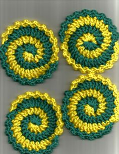 Fun Yellow and Aqua Pinwheel Coasters.