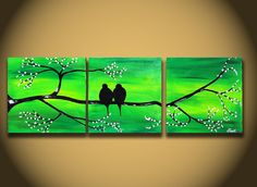 """Landscape Modern ORIGINAL Fine Art LOVE Birds Tree Branches 36"""" Contemporary Green Large Abstract Painting Handmade ready to hang Craft. $139.00, via Etsy. - wow!  love this <3"""