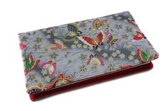 Porte-chéquier en tissu japonais papillons gris et rose
