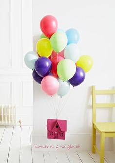 Balloons & a house - just like the film UP! (Photography by Jon Day)