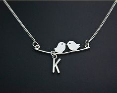 Initial Necklace Little Bird lariat necklace in by darlingnecklace, $8.99