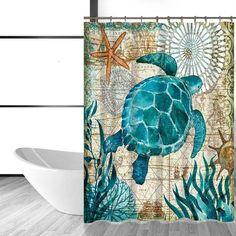 Miracille Sea Turtle Waterproof Shower Curtain Octopus Home Bathroom Curtains with 12 Hooks Polyester Fabric Bath Curtain Target Shower Curtains, Bathroom Shower Curtains, Mosaic Bathroom, Ocean Bathroom, Paint Bathroom, Remodel Bathroom, Bathroom Cabinets, Master Bathroom, Coastal Inspired Showers