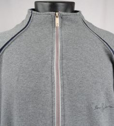 Tommy Bahama Mens XL Golf Track Full Zip Gray Sweatshirt Long Sleeve Blue Trim  #TommyBahama #FullyZippedGolfJacket
