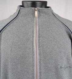 Tommy Bahama Mens XL Golf Track Full Zip Gray Sweatshirt Long Sleeve Blue Trim  #TommyBahama #FullyZippedGolfJacket