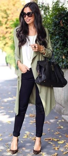 Olive Green Drape Trench + Black and White                                                                             Source