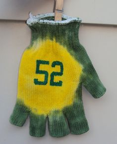 Green Bay Packers Tie Dye Jersey Number Drinking Glove Fingerless Football NFL 12 52 Aaron Rodgers Clay Matthews. $9.00, via Etsy.