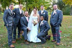 Bride with groomsmen. Wedding photo idea.