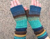 Blue Fingerless Gloves For Autumn! From Blue Mountain. Hand Knit Striped Mittens with upcycled linen, cotton and viscose.