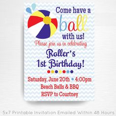 Primary Blue Red Yellow Beach Ball Birthday Party Printable Invitation YOU Print