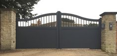 Hanslope Aluminium Gates are an attractive half open barred up-arch automatic gate designed and lovingly built to your specifications by true perfectionists