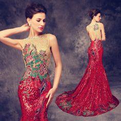 Luxo Arrastando Cheongsams Longo Lantejoulas/Bordados Backless Qipao Robe Orientale Tradição Chinesa Do Vestido de Casamento