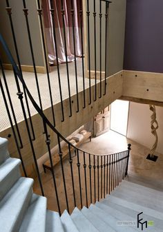 A Cool Classic White Staircase Step With Antique Iron Banister And Laminate Flooring For Country House Beautiful Country House in Italy with Warm Interior Home design