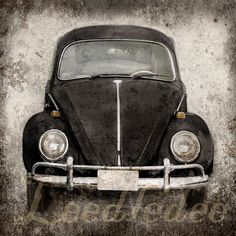 Black Bug (or ANY COLOR) - Vintage Style Volkswagen Beetle Original Photograph Textured Distressed Retro Home Decor