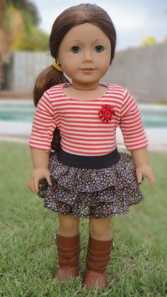 American Girl Doll Clothes - Charming In Chiffon, Ruffled Shirt And 3/4 Striped…