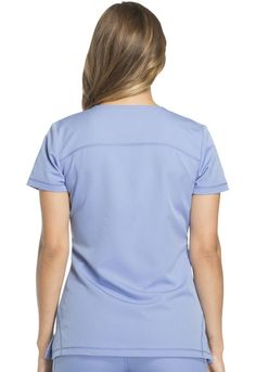 Dickies Dynamix Women's Rounded V-Neck Top Blue DK720-CIE