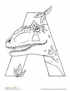 Dino Alphabet Coloring Pages   Education.com