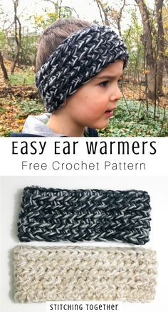 Super Easy Chunky Crochet Ear Warmer Pattern Quick and fun chunky ear warmer crochet pattern. This free pattern is perfect for using up that scrap yarn and stocking up on lovely handmade gifts. Crochet Ear Warmer Pattern, Crochet Headband Pattern, Crochet Beanie, Crochet Ear Warmers, Knitting Patterns, Crochet Socks Pattern, Crocheted Hats, Loom Knitting, Amigurumi