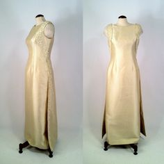 Vintage 1960s Pale Yellow Shantung Beaded Gown Dress by SLVintage, $325.00