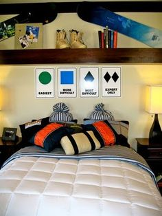 snowboard decor for teen boy room | Teen Snowboarders Room - Design Dazzle