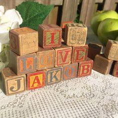 6 Antique Wood Letter Blocks Animals Alphabet Pictures Play Decorative Toy Building Blocks Wooden Nursery by WonderCabinetArts