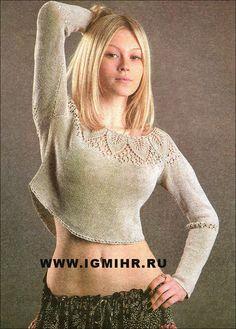 Пуловер с ажурной кокеткой и ажурными полосами на рукавах. Спицы