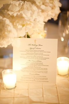 Wedding menu with seahorse motif. Photo by KT Merry.