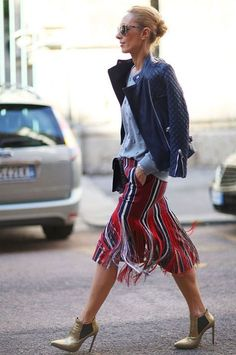 colors skirt leather jacket street style Pinterest: KarinaCamerino
