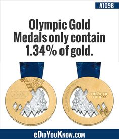 eDidYouKnow.com ► Olympic Gold Medals only contain 1.34% of gold.