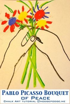 Picasso bouquet of peace chalk art tutorial. In this video tutorial, Nana shows us how to first sketch the hands and then outline in chalk pastel. We then add those fantastic flowers in primary colors. Picasso Flowers, Montessori Art, Montessori Elementary, Artist Project, Peace Art, Art Curriculum, Teaching Art, Teaching Reading, Art Studies