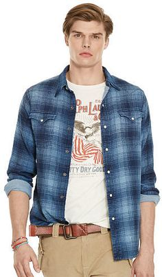 Please click on the picture to go to the detail page.  Polo Ralph Lauren Indigo Plaid Western Shirt