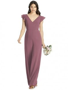 Dessy Collection 3047 is a Matte Chiffon V neck bridesmaid jumpsuit with short ruffle sleeves. Alfred Sung Bridesmaid Dresses, Dessy Bridesmaid, Black Bridesmaids, Bridesmaid Jumpsuits, City Chic, Tube Top, Jumper, Bridal Jumpsuit, Bridal Fashion Week
