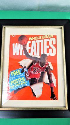 5bf43d56c35 Vintage Framed 1980's Michael Jordan Chicago Bulls Poster, Wheaties Michael  Jordan Poster