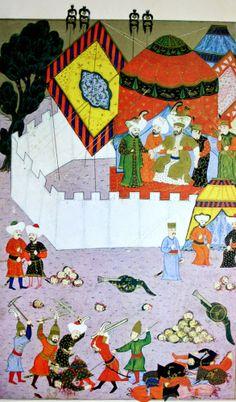 """Hünername'den nakkaş Osman çizimi ile """" Sultan birinci Murat'ın Sırp milliyetçisi Milos Obilic tarafından şehit edilmesi."""" minyatürü."""