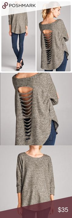 New Chic Laser Cut Top Rounded hemline crew neck laser cut back detail olive melange top. Such a chic edgy look to add to your fall wardrobe Nwot Vivacouture Tops