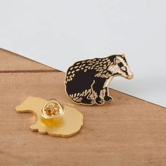 British Badger Enamel Pin Pin Badge Hard Enamel Pin Gold